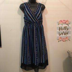 Lane Bryant 14 blue/black/cream sleeveless dress